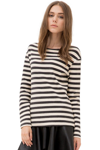 Cream Heather Gray Horizontal Striped Boat Neck Long Sleeved Top