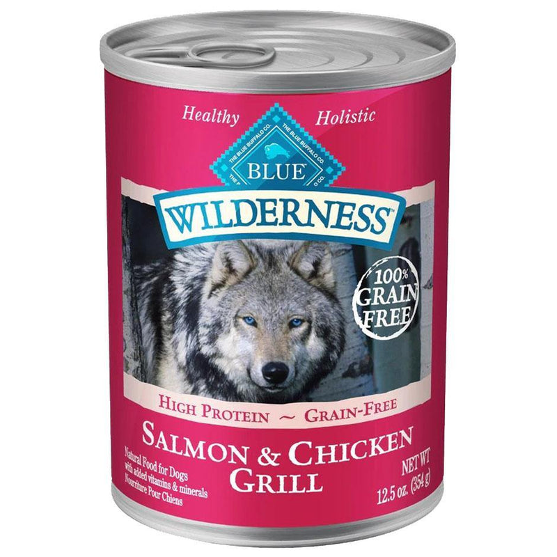 Blue Buffalo Wilderness Salmon & Chicken Grill Grain-Free Adult Canned Dog Food (12.5-oz, case of 12)