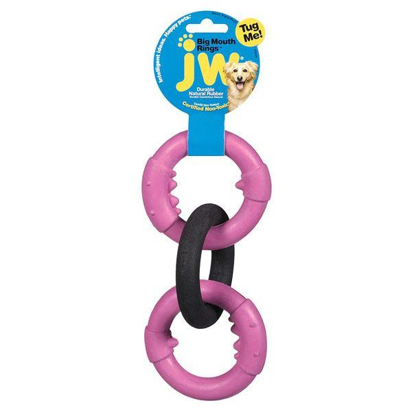 JW Pet Big Mouth Rings Triple Rubber Dog Toy, Small