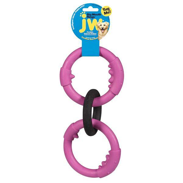 JW Pet Big Mouth Rings Triple Rubber Dog Toy, Color Varies, Large