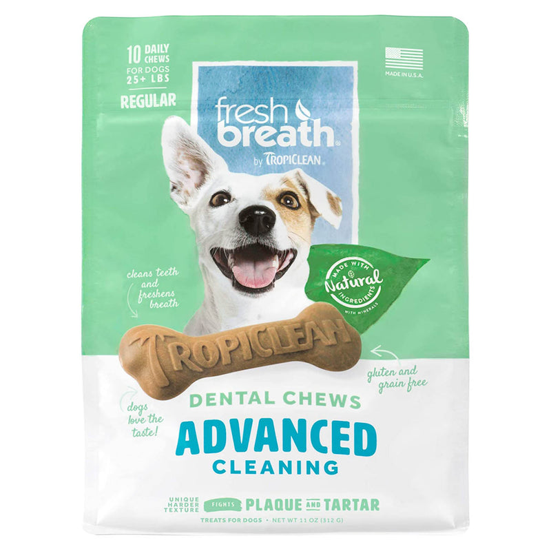 TropiClean Fresh Breath Dental Chew Advanced Cleaning Dog Treats, 10-count, Regular