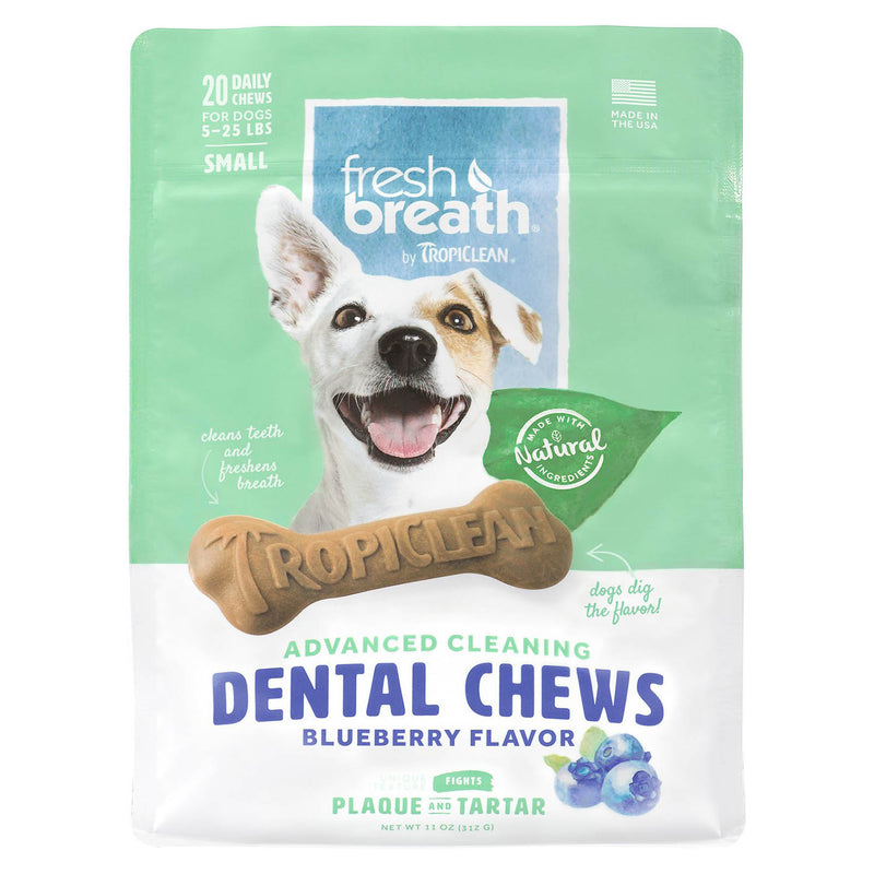 TropiClean Fresh Breath Dental Chew Blueberry Flavor Dog Treats, 20-count, Small