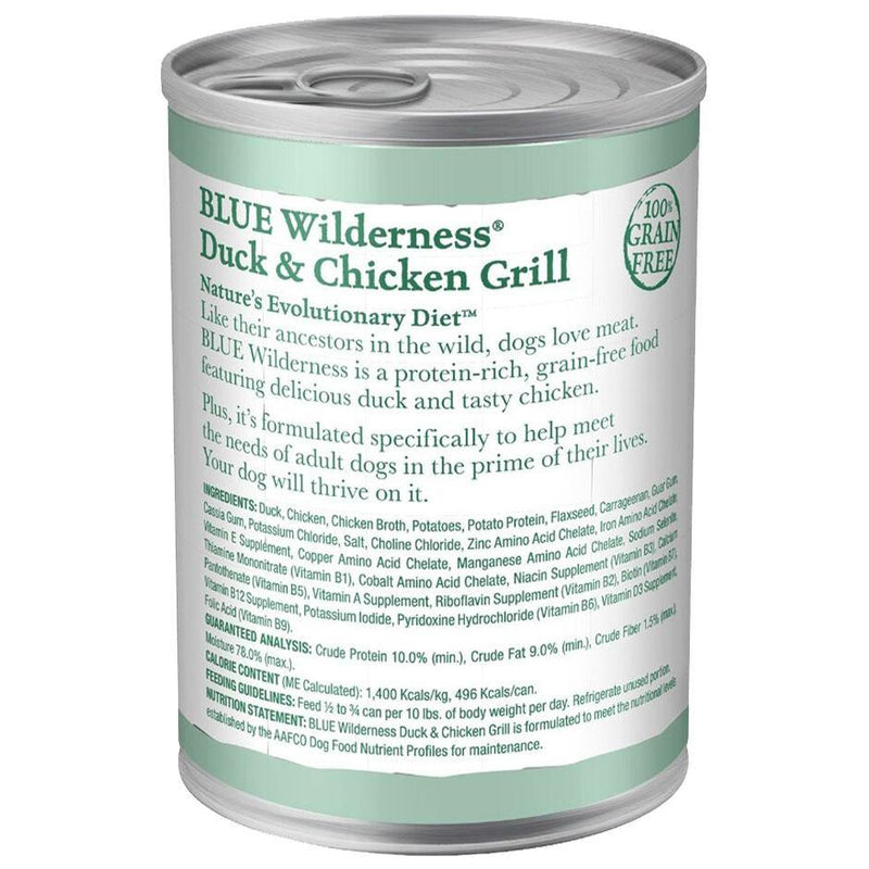 Blue Buffalo Wilderness Duck & Chicken Grill Grain-Free Canned Dog Food (12.5-oz, case of 12)