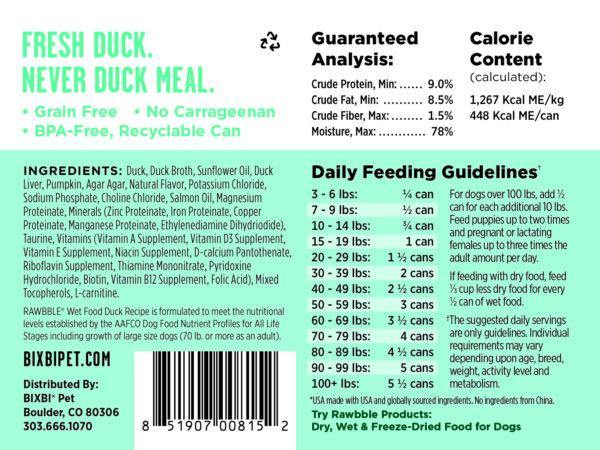 BIXBI RAWBBLE Duck & Pumpkin Recipe Wet Dog Food (12.5-oz can, case of 12)