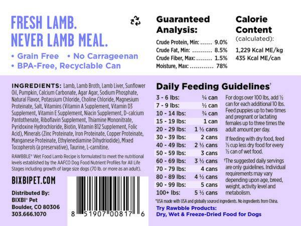 BIXBI RAWBBLE Lamb & Pumpkin Recipe Wet Dog Food (12.5-oz can, case of 12)
