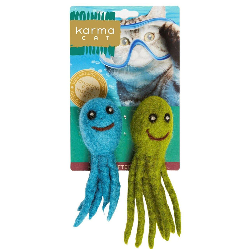 Dharma Dog Karma Cat Multi Colored Octopus Cat Toy, 2-pack
