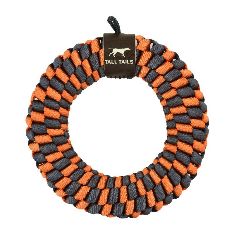 "Tall Tails Orange & Charcoal Braided Rope Dog Toy (5"" Ring)"