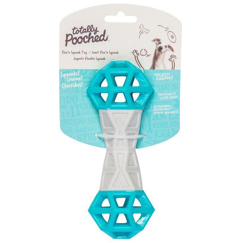 Totally Pooched Flex n' Squeak Rubber Dog Toy (7-inch long, Grey & Teal)