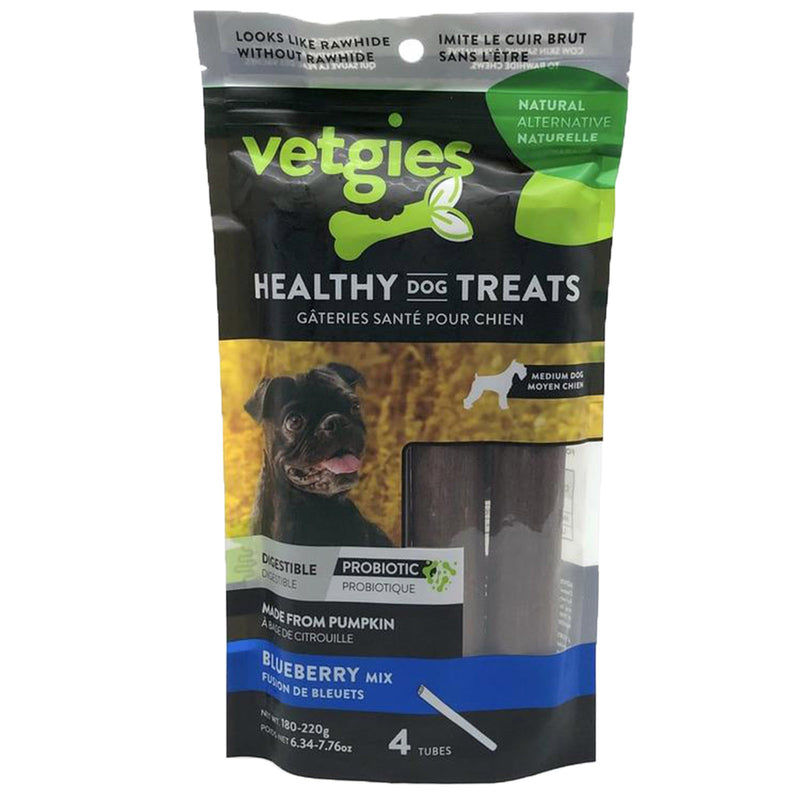 Vetgies Medium Tube Blueberry Flavor Dental Dog Treat (45-55g each, 4 pack)