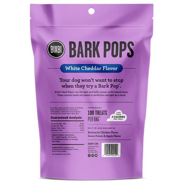 BIXBI Bark Pops White Chedar Flavor Light & Crunchy Dog Treats (4-oz bag) - Petanada