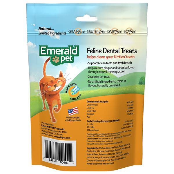 Emerald Pet Feline Dental Treats Chicken Flavored Cat Treat (3-oz bag)