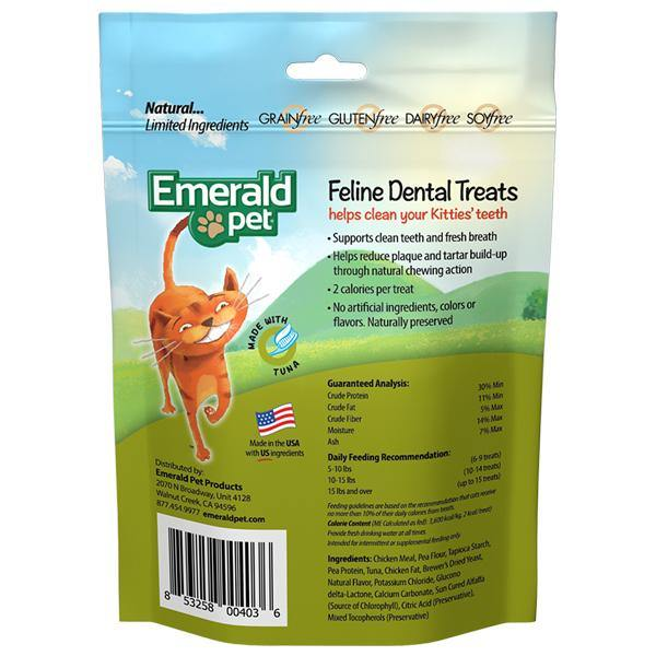 Emerald Pet Feline Dental Treats Tuna Flavored Cat Treat (3-oz bag)