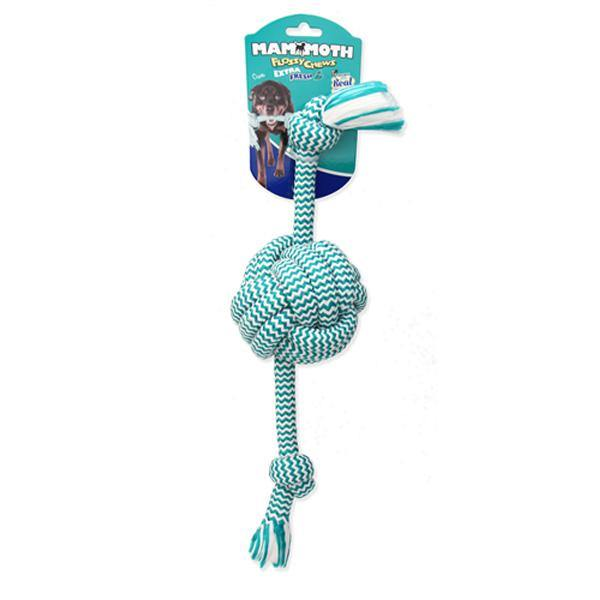 Mammoth Extra Fresh Monkey Fist Ball & Rope Ends Dog Toy (Small 13'')