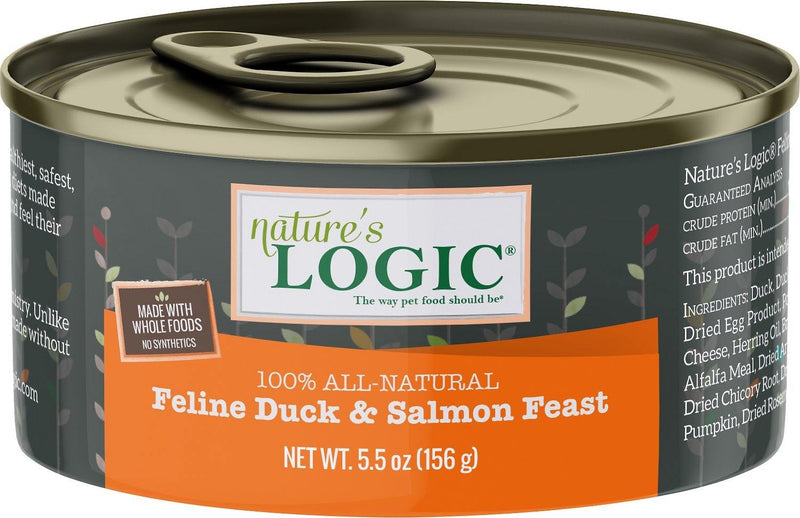 Nature's Logic Feline Duck & Salmon Feast Grain-Free Canned Cat Food (5.5-oz, case of 24)
