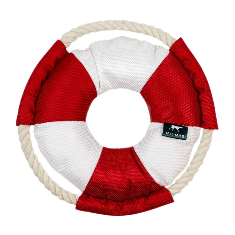 "Tall Tails Lifebuoy with Squeaker Rope Dog Toy (8"" Ring)"