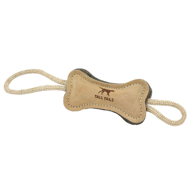 Tall Tails Natural Leather & Wool Bone Dog Toy