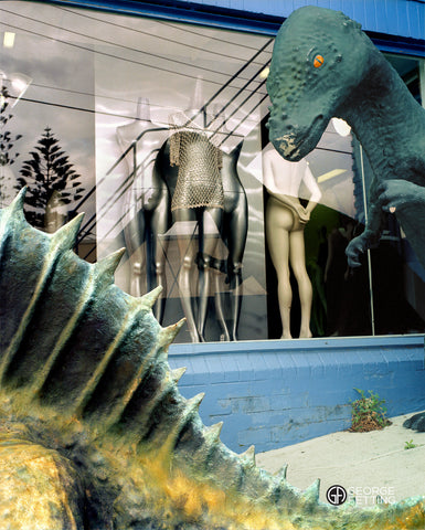 An incongruous combination of shop mannequins and Dinosaurs