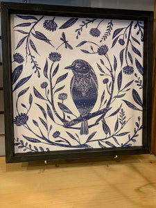 Blue & White Bird Wooden Wall Décor