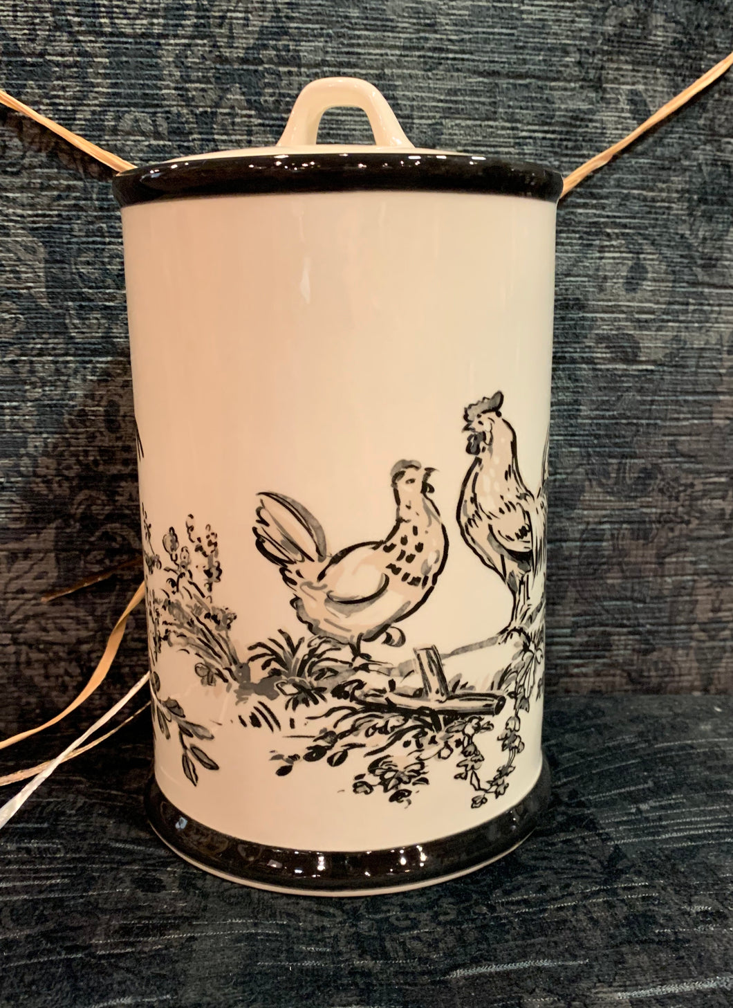 Creative Co-Op Hen & Chicken Stoneware Canister