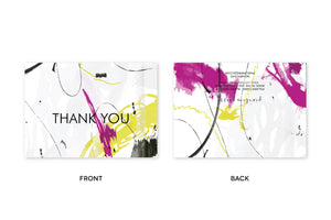 THANK YOU Abstract Fuschia Chartreuse Notecards