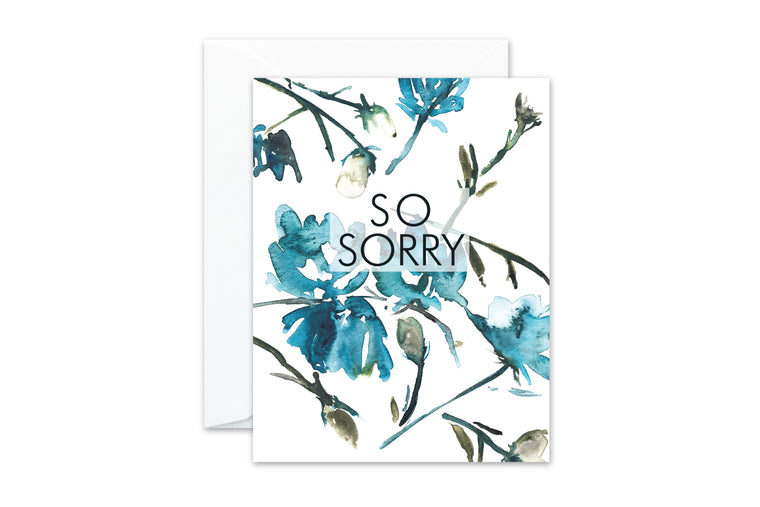 SO SORRY Watercolor Floral Greeting Card