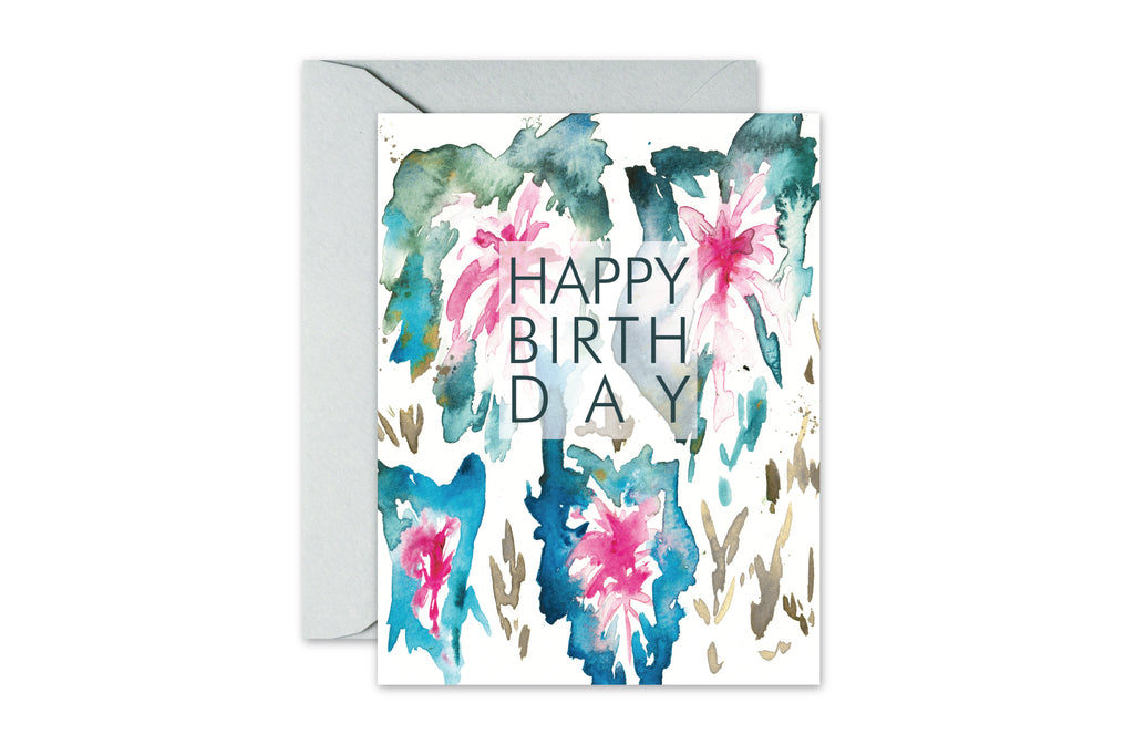 happy birthday botanical watercolor greeting card by pixelimpress