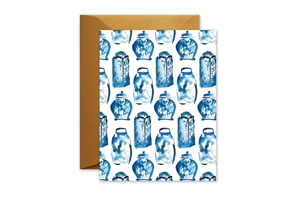 Everyday Greeting Card Blue and White Ginger jars Watercolor by pixelimpress