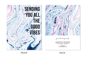 GOOD VIBES Hippie Bohemian Indigo + Blush Marble Greeting Card front + back by pixelimpress