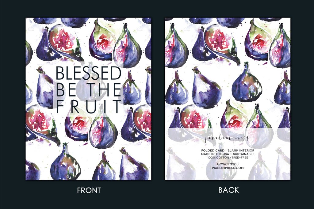 BLESSED BE THE FRUIT Fig Watercolor Greeting Card