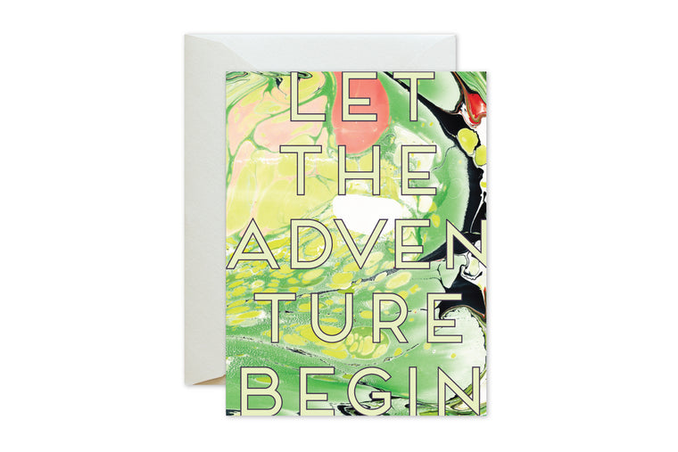 Bon Voyage. Birthday, Wedding Chartreuse Marble Let the Adventure Begin Greeting Card by pixelimpress