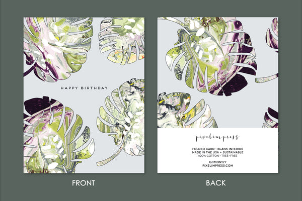 Greeting cards pixelimpress happy birthday monstera marble greeting card 450 m4hsunfo