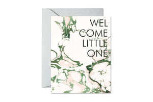 WELCOME LITTLE ONE Blush and Sage Marble Card