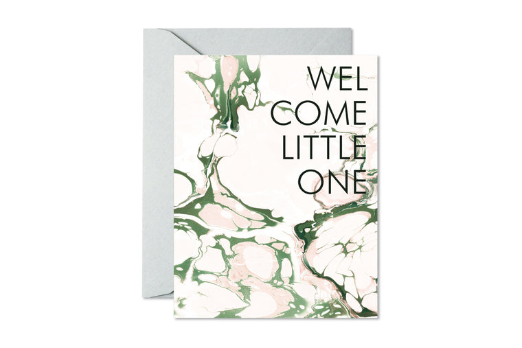 WELCOME LITTLE ONE Blush and Sage Marble Greeting Card