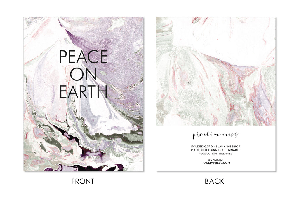 PEACE ON EARTH Christmas | Holiday Marble Greeting Card