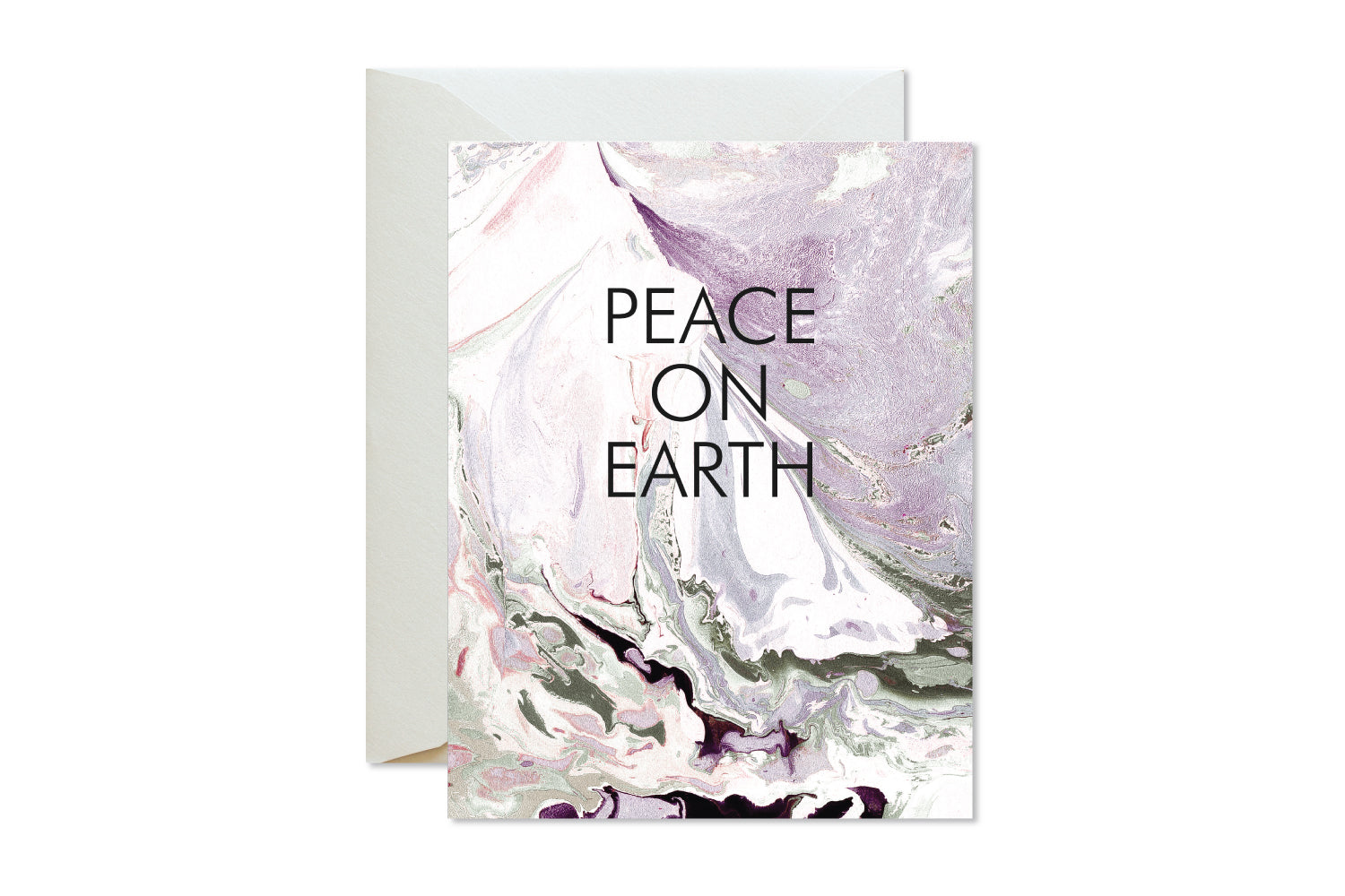 PEACE ON EARTH Christmas | Holiday Marble Greeting Card - pixelimpress