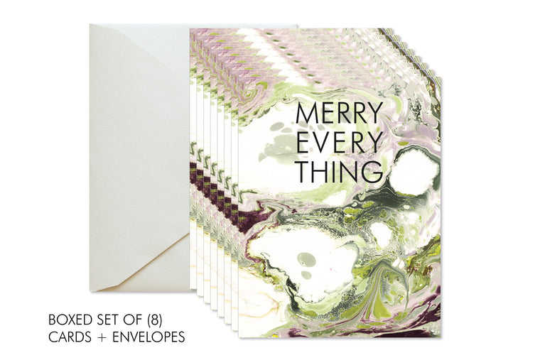 MERRY EVERYTHING Boxed Set Christmas | Holiday Marble Greeting Cards