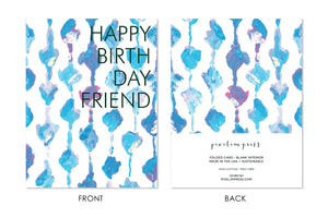 Aqua Knots Happy Birthday Friday front + back Greeting Card by pixelimpress