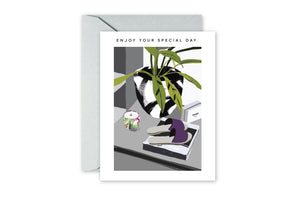 ENJOY YOUR SPECIAL DAY graffiti planter greeting card