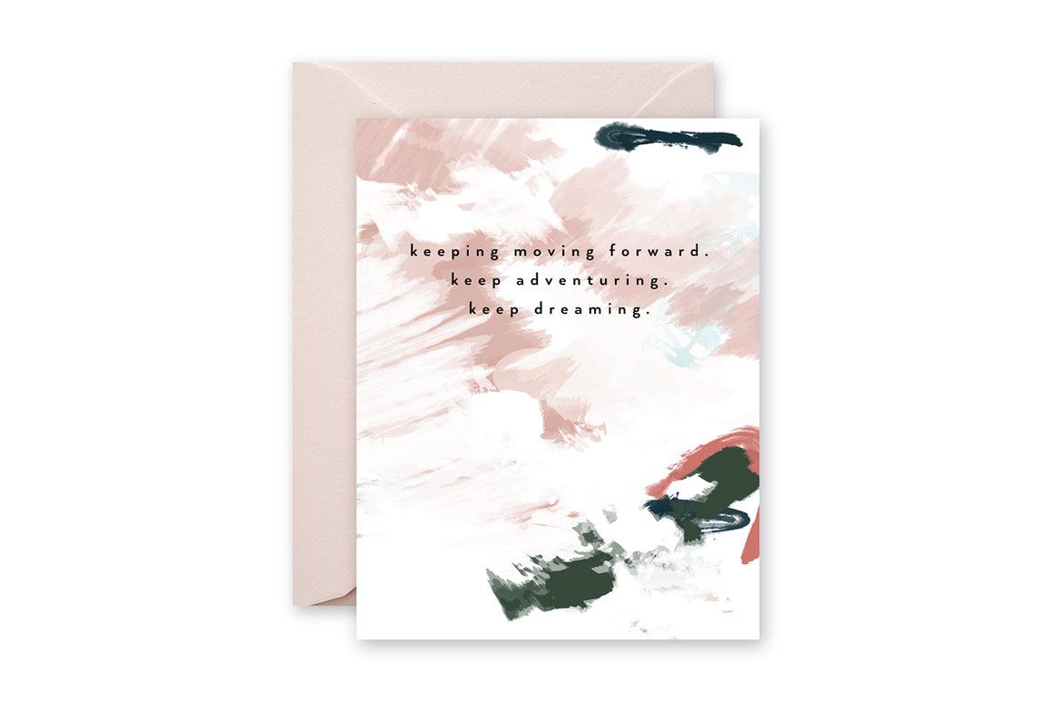 KEEP MOVING Pastel Abstract Greeting Card