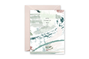 YOU INSPIRE ME Pastel Abstract Greeting Card