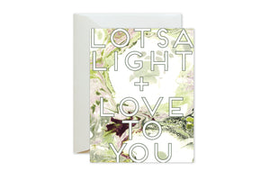 LOTSA LIGHT + LOVE TO YOU Green Burgundy Marble Card