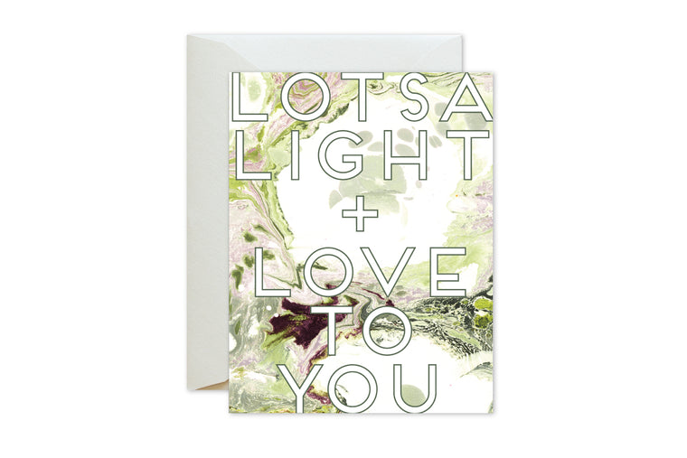 LOTSA LIGHT + LOVE TO YOU Green Burgundy Marble Greeting Card / Birthday / Sympathy / Encouragement