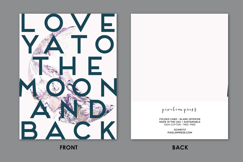 LOVE YA TO THE MOON AND BACK Blush Pink Marble Greeting Card