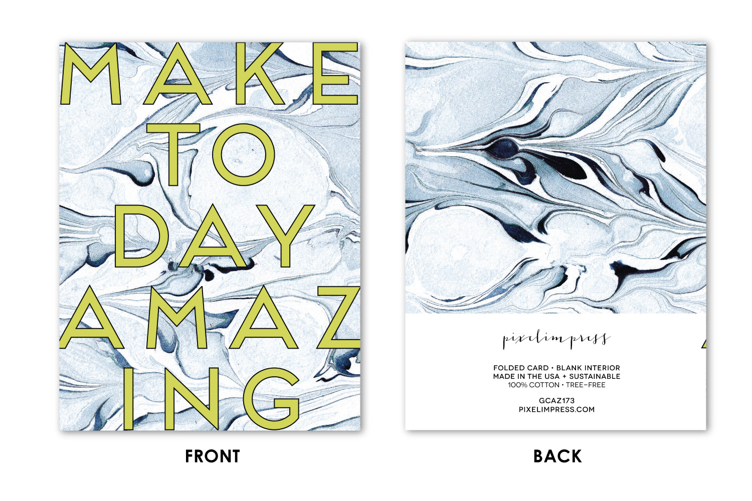 MAKE TODAY AMAZING Indigo Marble Greeting Card / Birthday / Wedding /  Graduation