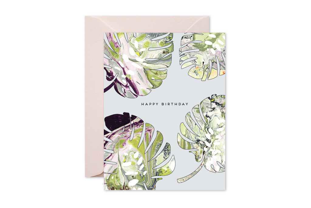 HAPPY BIRTHDAY Monstera Marble Greeting Card