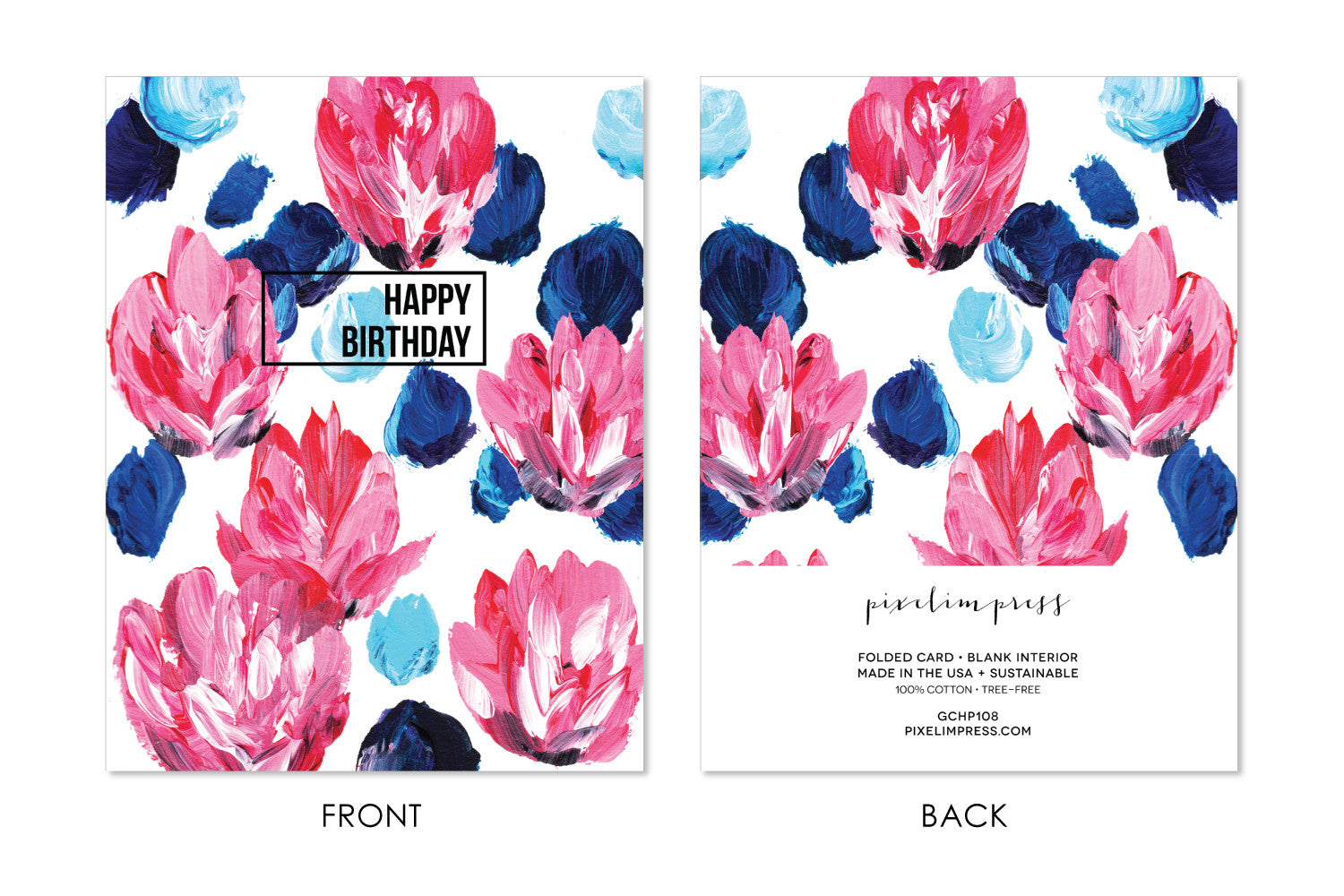 Happy Birthday Pink And Blue Floral Greeting Card Pixelimpress
