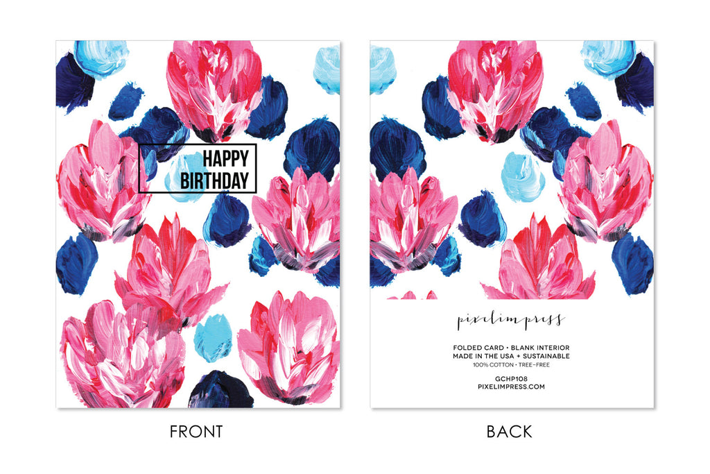 HAPPY BIRTHDAY Pink and Blue Floral Greeting Card