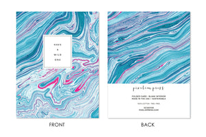HAVE A WILD ONE Turquoise and Pink Marble front + back Greeting Card by pixelimpress