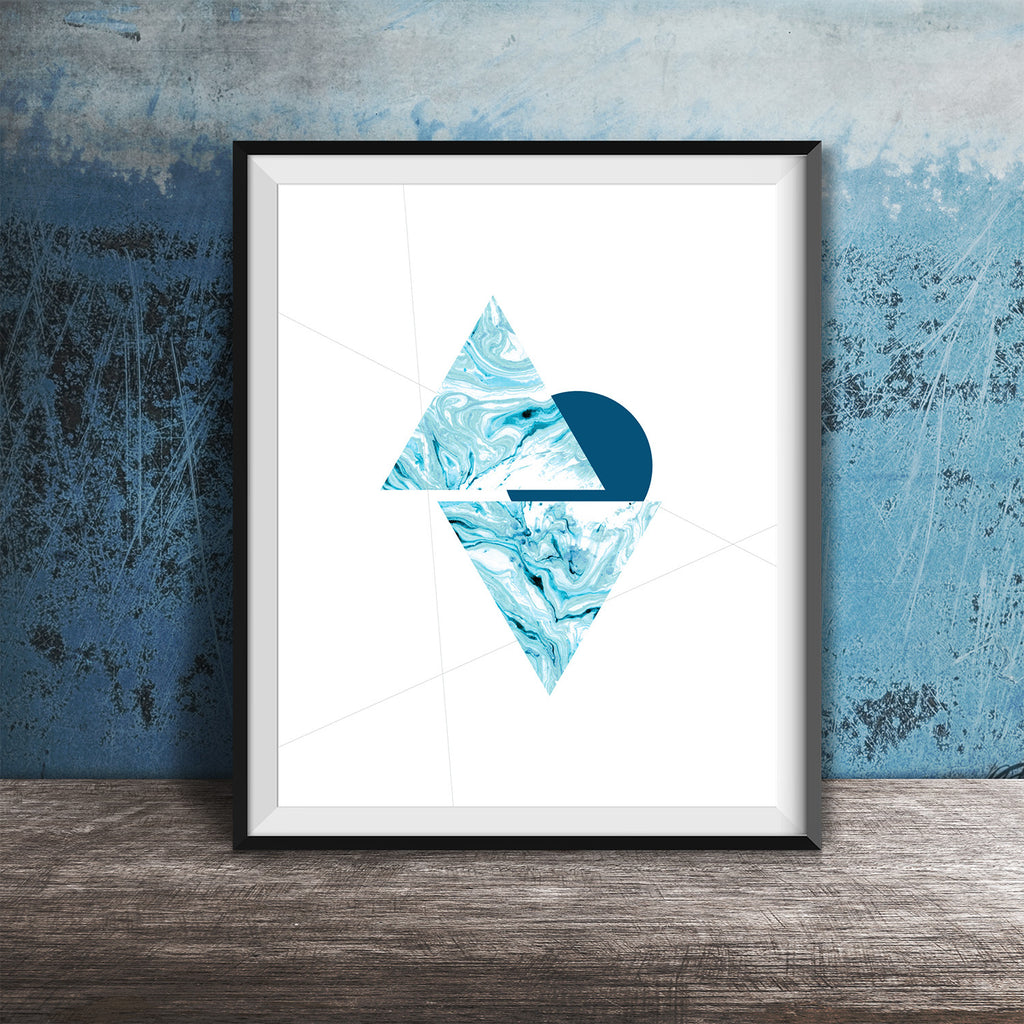 A geometric study with our aqua marble pattern. 8X10 ART PRINT