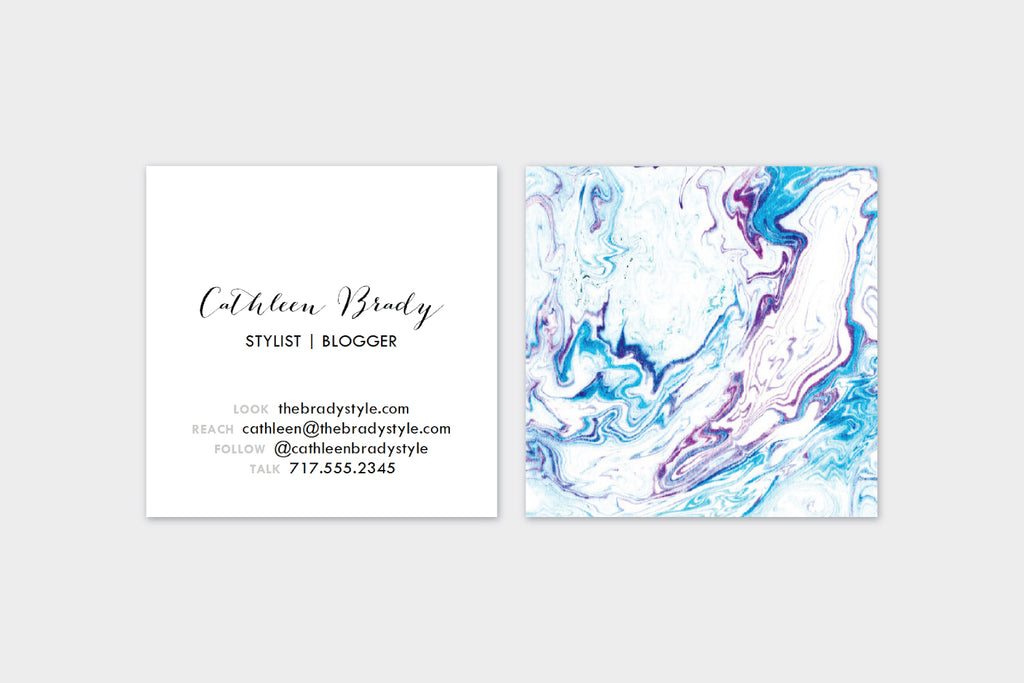 Blue + Maroon Marble Double Sided  Calling Cards | Set (50)